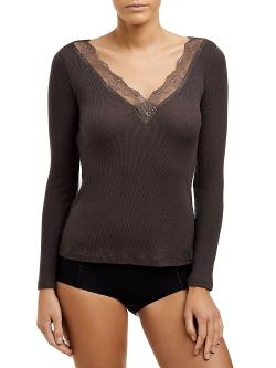Wool Silk Long Sleeve Top
