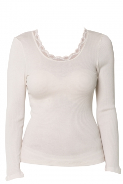 Ribbed Silk Cotton Long Sleeve