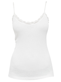 Ribbed Silk Cotton Lace Camisole