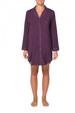 Piped Modal Spot Night Shirt