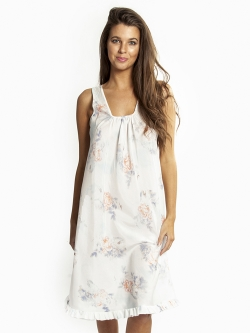 Light Cotton Silk Frilled Nightdress