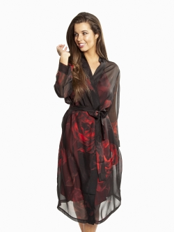 Silk Chiffon Robe – Rose Print